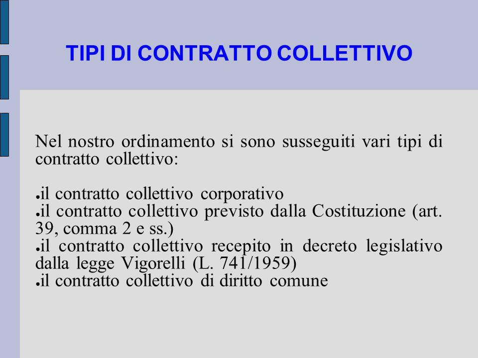 TIPI DI CONTRATTO COLLETTIVO Nel nostro ordinamento si sono susseguiti vari tipi di contratto collettivo: il contratto collettivo corporativo il contr