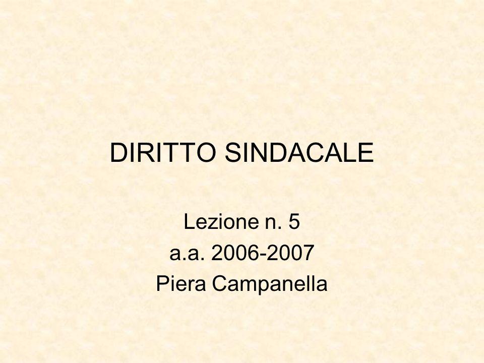 DIRITTO SINDACALE Lezione n. 5 a.a. 2006-2007 Piera Campanella