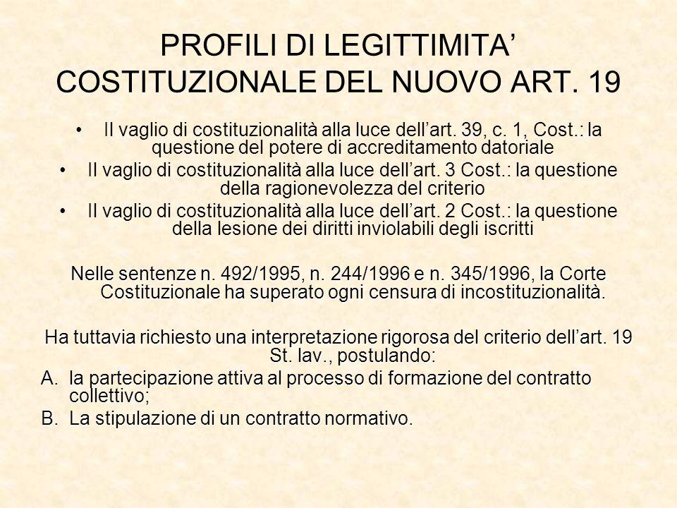 PROFILI DI LEGITTIMITA COSTITUZIONALE DEL NUOVO ART. 19 Il vaglio di costituzionalità alla luce dellart. 39, c. 1, Cost.: la questione del potere di a