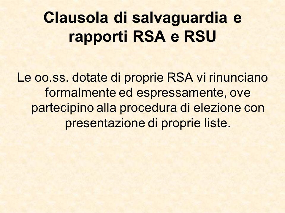 Clausola di salvaguardia e rapporti RSA e RSU Le oo.ss. dotate di proprie RSA vi rinunciano formalmente ed espressamente, ove partecipino alla procedu