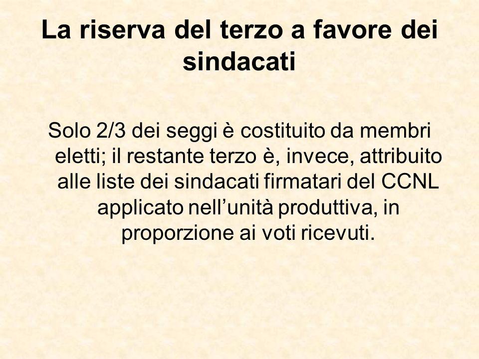 La riserva del terzo a favore dei sindacati Solo 2/3 dei seggi è costituito da membri eletti; il restante terzo è, invece, attribuito alle liste dei s