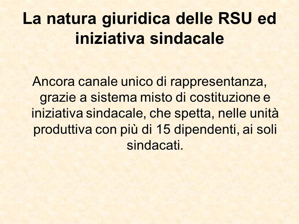 La natura giuridica delle RSU ed iniziativa sindacale Ancora canale unico di rappresentanza, grazie a sistema misto di costituzione e iniziativa sinda