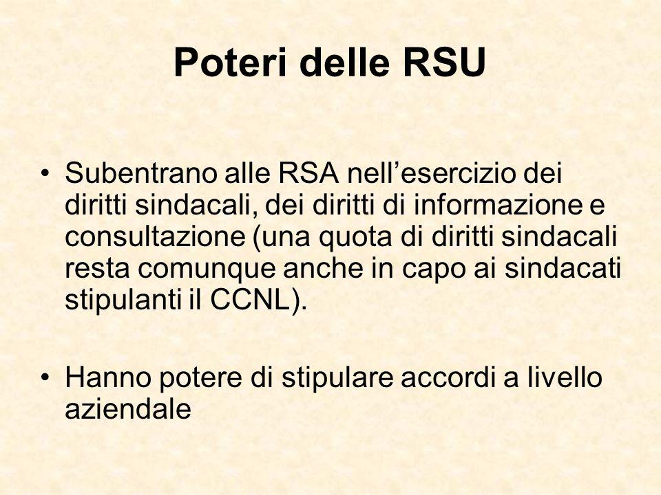 Poteri delle RSU Subentrano alle RSA nellesercizio dei diritti sindacali, dei diritti di informazione e consultazione (una quota di diritti sindacali