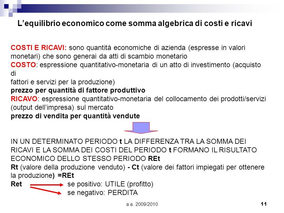 a.a. 2009/201011 Lequilibrio economico come somma algebrica di costi e ricavi COSTI E RICAVI: sono quantità economiche di azienda (espresse in valori