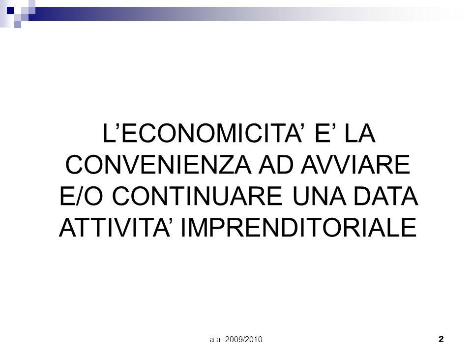 a.a. 2009/20102 LECONOMICITA E LA CONVENIENZA AD AVVIARE E/O CONTINUARE UNA DATA ATTIVITA IMPRENDITORIALE