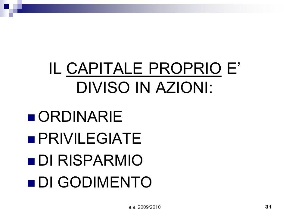 a.a. 2009/201031 IL CAPITALE PROPRIO E DIVISO IN AZIONI: ORDINARIE PRIVILEGIATE DI RISPARMIO DI GODIMENTO