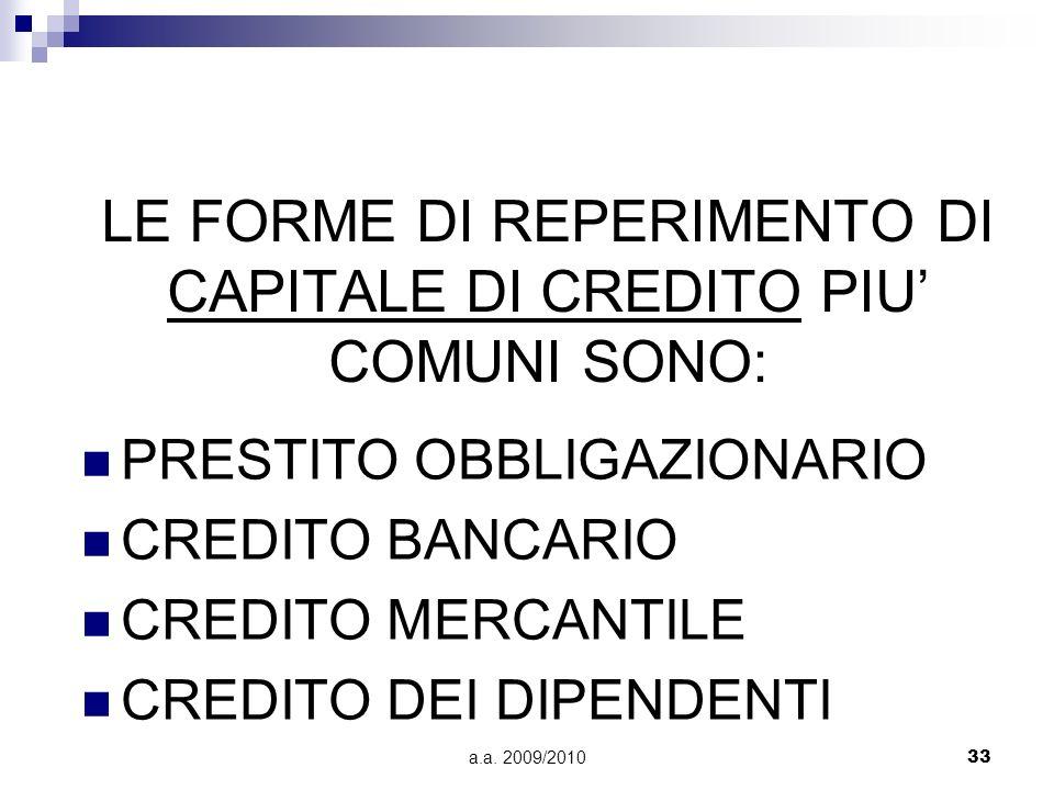 a.a. 2009/201033 LE FORME DI REPERIMENTO DI CAPITALE DI CREDITO PIU COMUNI SONO: PRESTITO OBBLIGAZIONARIO CREDITO BANCARIO CREDITO MERCANTILE CREDITO