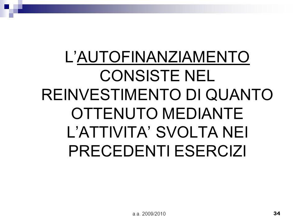 a.a. 2009/201034 LAUTOFINANZIAMENTO CONSISTE NEL REINVESTIMENTO DI QUANTO OTTENUTO MEDIANTE LATTIVITA SVOLTA NEI PRECEDENTI ESERCIZI