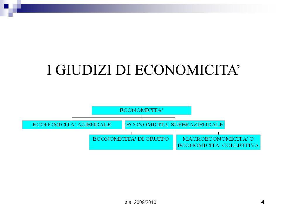 a.a. 2009/20104 I GIUDIZI DI ECONOMICITA