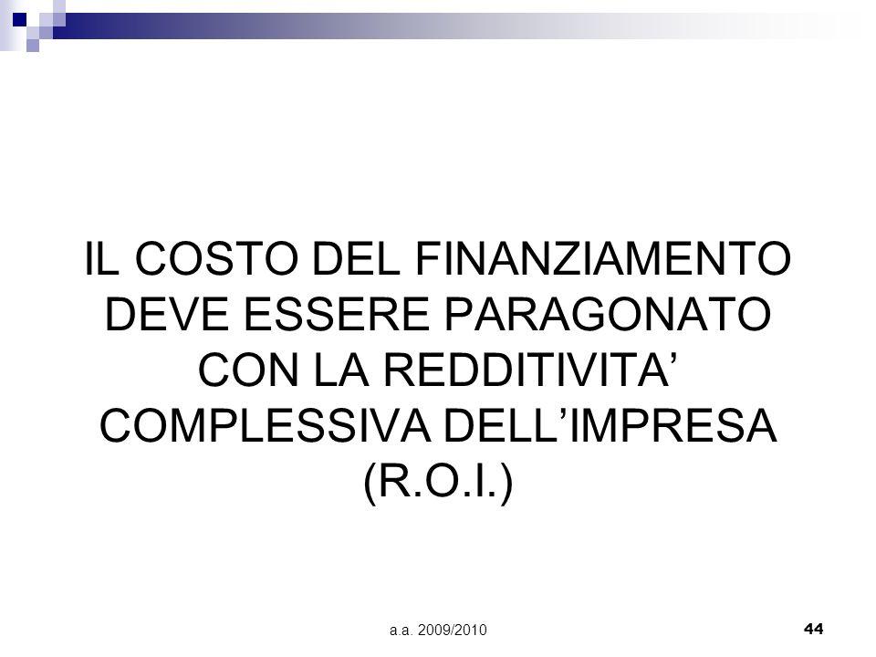 a.a. 2009/201044 IL COSTO DEL FINANZIAMENTO DEVE ESSERE PARAGONATO CON LA REDDITIVITA COMPLESSIVA DELLIMPRESA (R.O.I.)