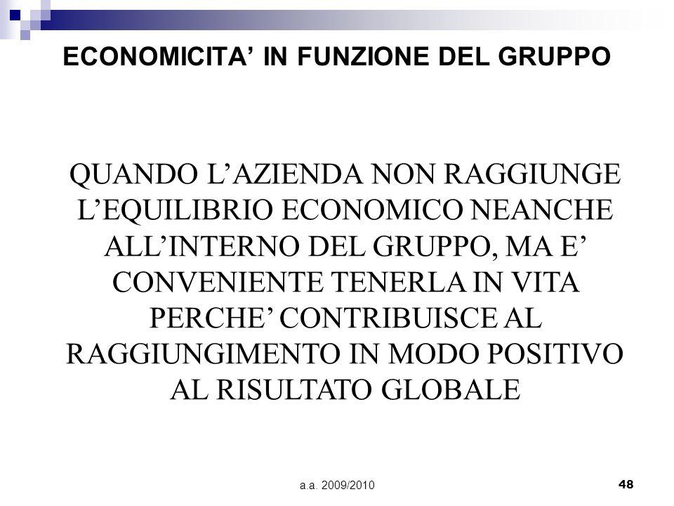 a.a. 2009/201048 ECONOMICITA IN FUNZIONE DEL GRUPPO QUANDO LAZIENDA NON RAGGIUNGE LEQUILIBRIO ECONOMICO NEANCHE ALLINTERNO DEL GRUPPO, MA E CONVENIENT