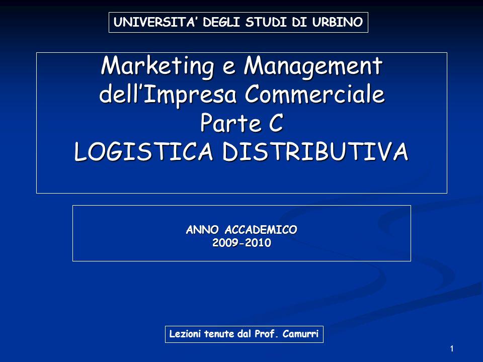 1 Marketing e Management dellImpresa Commerciale Parte C LOGISTICA DISTRIBUTIVA ANNO ACCADEMICO 2009-2010 UNIVERSITA DEGLI STUDI DI URBINO Lezioni ten
