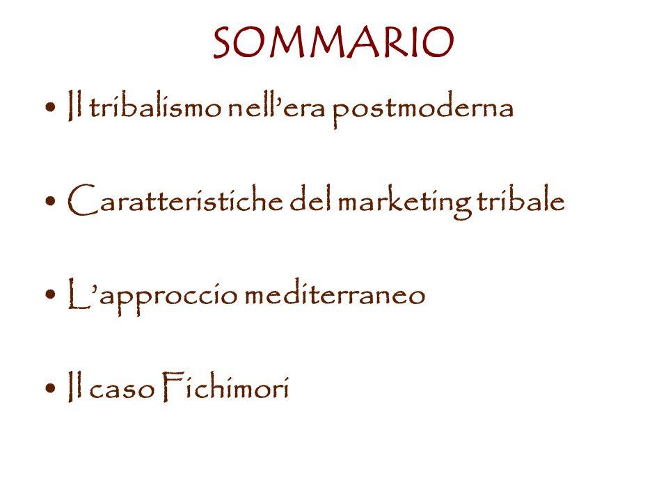 SOMMARIO Il tribalismo nellera postmoderna Caratteristiche del marketing tribale Lapproccio mediterraneo Il caso Fichimori