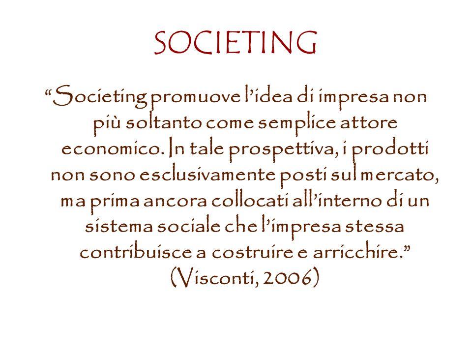 SOCIETING Societing promuove lidea di impresa non più soltanto come semplice attore economico.