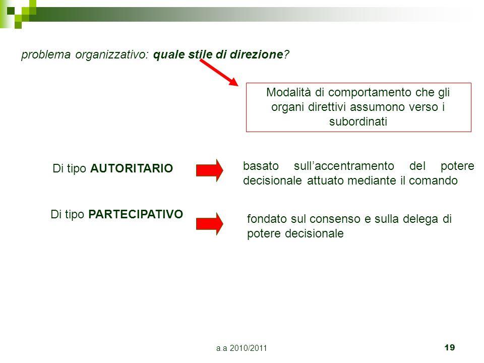 a.a 2010/2011 19 problema organizzativo: quale stile di direzione? Modalità di comportamento che gli organi direttivi assumono verso i subordinati Di