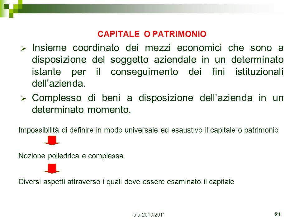 a.a 2010/2011 21 CAPITALE O PATRIMONIO Insieme coordinato dei mezzi economici che sono a disposizione del soggetto aziendale in un determinato istante
