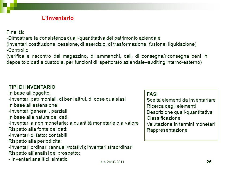 a.a 2010/2011 26 Linventario Finalità: -Dimostrare la consistenza quali-quantitativa del patrimonio aziendale (inventari costituzione, cessione, di es