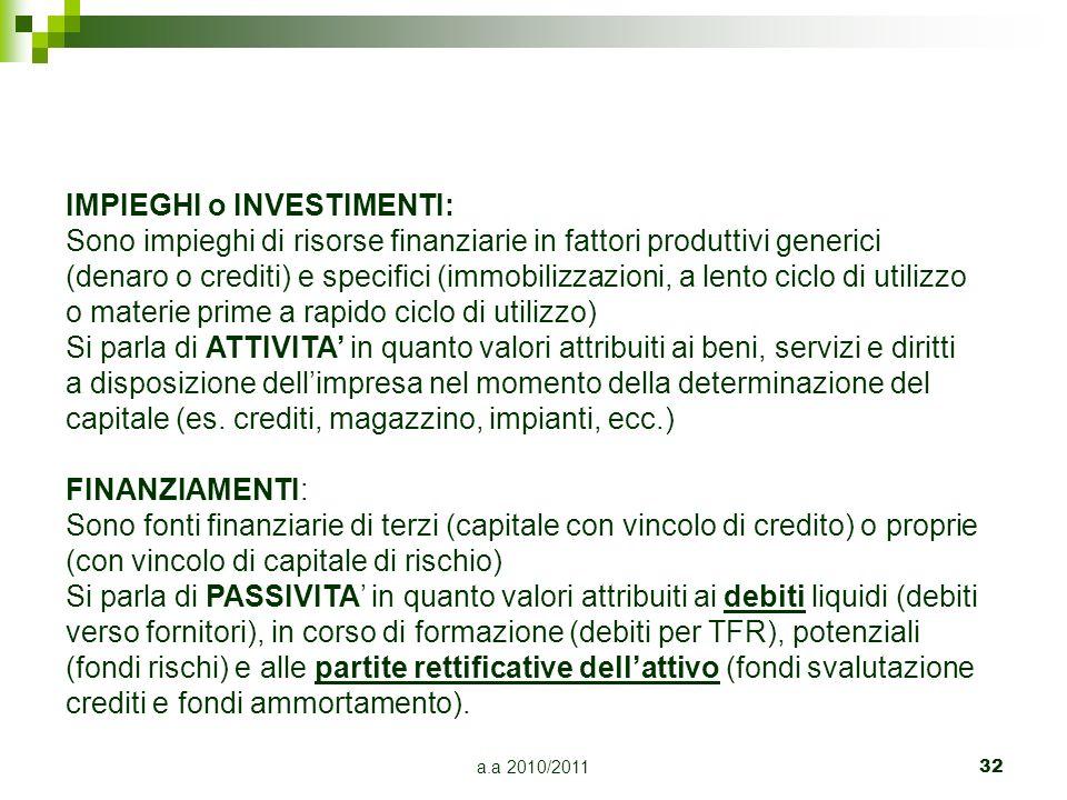 a.a 2010/2011 32 IMPIEGHI o INVESTIMENTI: Sono impieghi di risorse finanziarie in fattori produttivi generici (denaro o crediti) e specifici (immobili