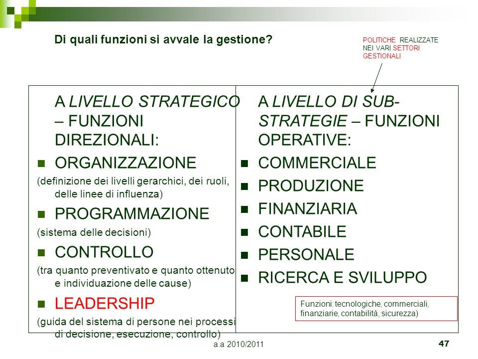 a.a 2010/2011 47 A LIVELLO STRATEGICO – FUNZIONI DIREZIONALI: ORGANIZZAZIONE (definizione dei livelli gerarchici, dei ruoli, delle linee di influenza)