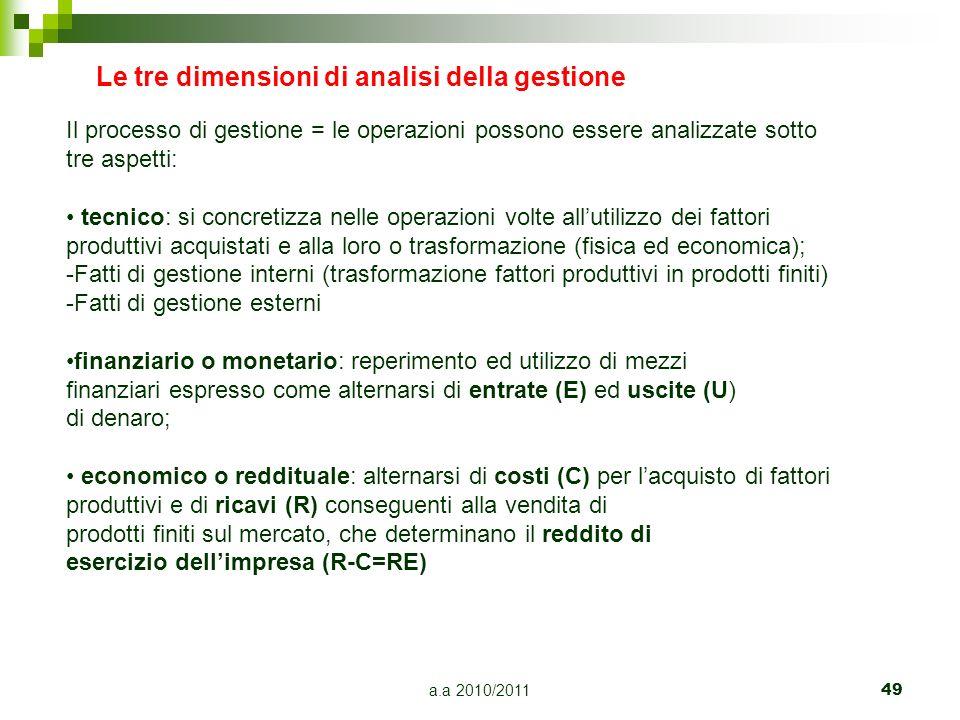 a.a 2010/2011 49 Le tre dimensioni di analisi della gestione Il processo di gestione = le operazioni possono essere analizzate sotto tre aspetti: tecn