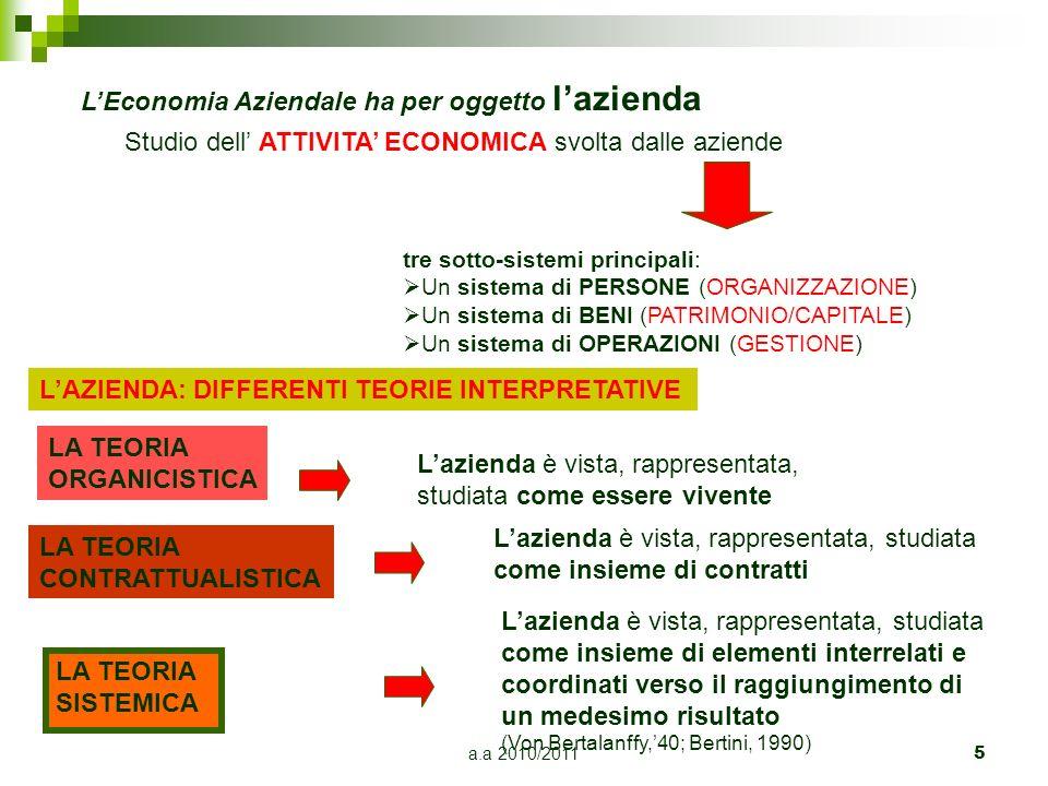 a.a 2010/2011 5 LEconomia Aziendale ha per oggetto lazienda Studio dell ATTIVITA ECONOMICA svolta dalle aziende tre sotto-sistemi principali: Un siste