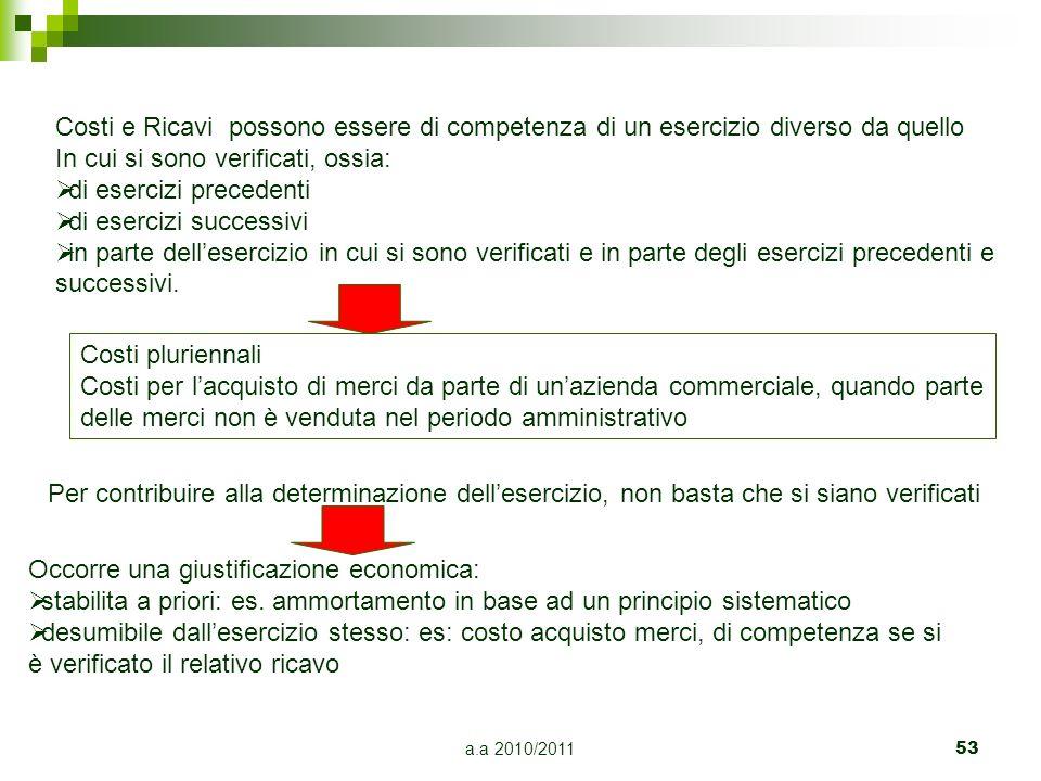 a.a 2010/2011 53 Costi e Ricavi possono essere di competenza di un esercizio diverso da quello In cui si sono verificati, ossia: di esercizi precedent