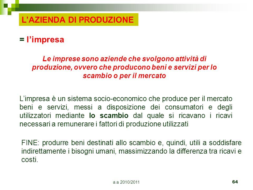 a.a 2010/2011 64 = limpresa Le imprese sono aziende che svolgono attività di produzione, ovvero che producono beni e servizi per lo scambio o per il m