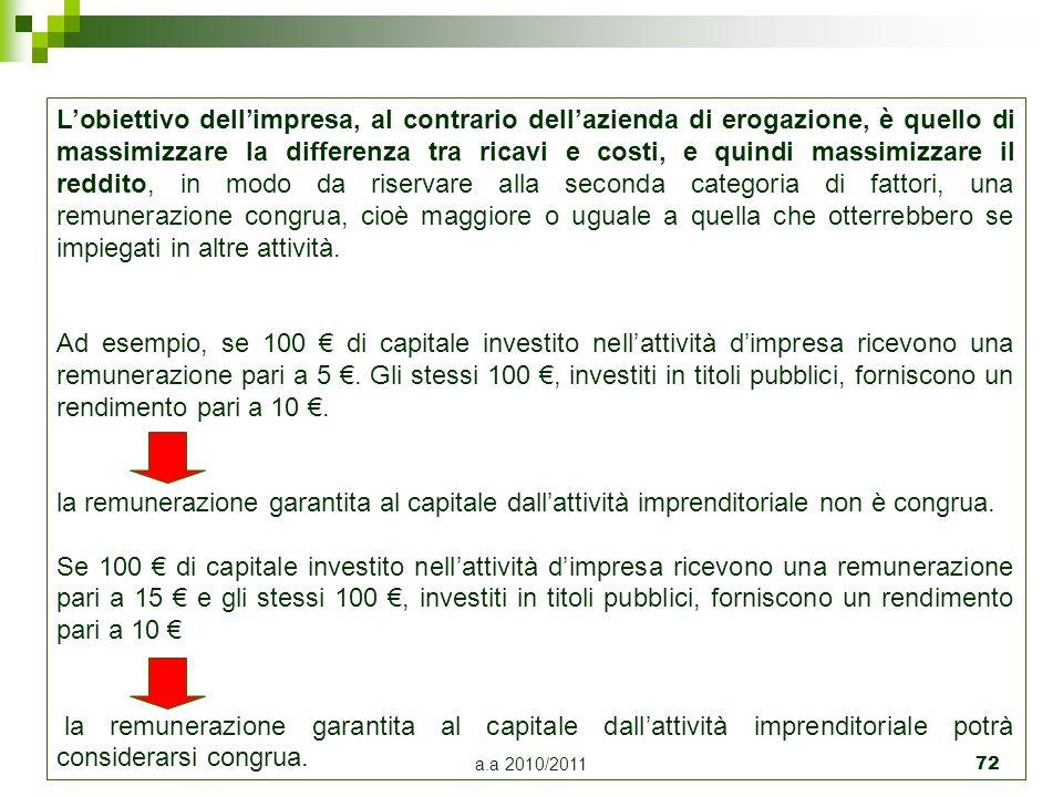 a.a 2010/2011 72 Lobiettivo dellimpresa, al contrario dellazienda di erogazione, è quello di massimizzare la differenza tra ricavi e costi, e quindi m