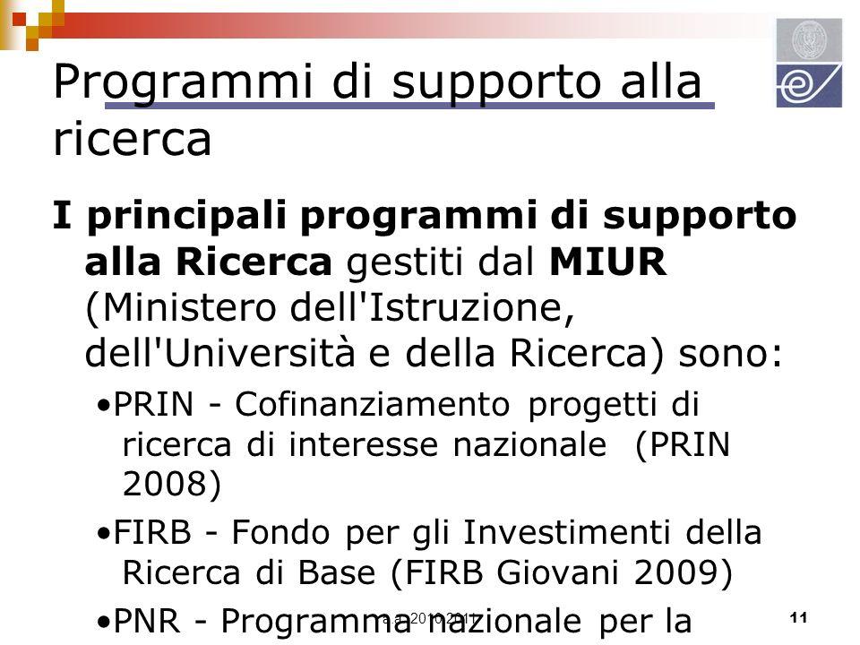 a.a. 2010 201111 Programmi di supporto alla ricerca I principali programmi di supporto alla Ricerca gestiti dal MIUR (Ministero dell'Istruzione, dell'