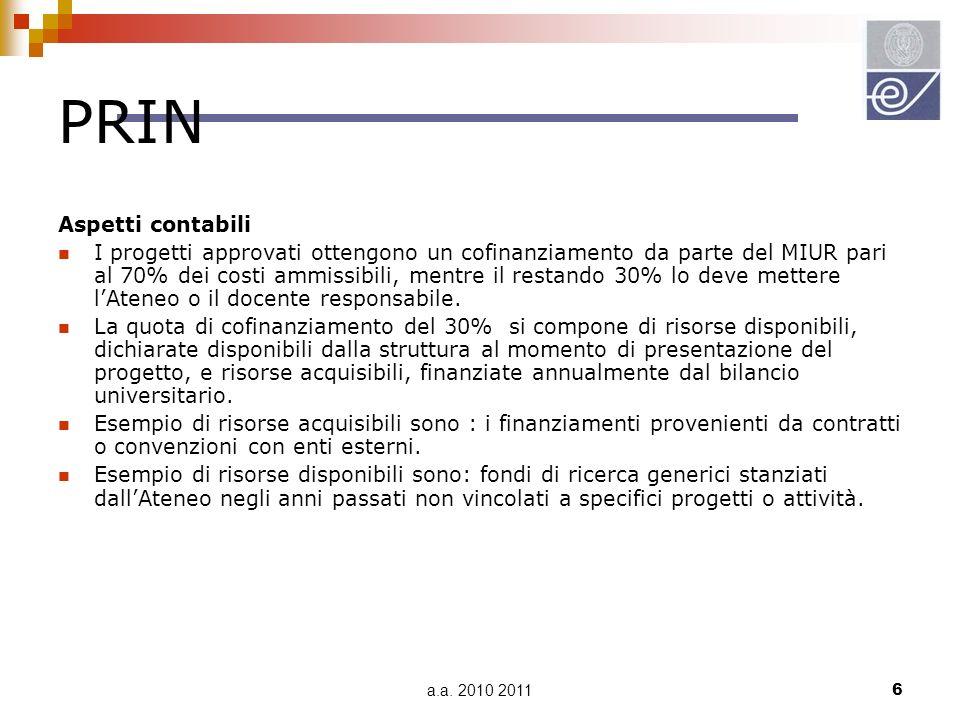 a.a. 2010 20116 PRIN Aspetti contabili I progetti approvati ottengono un cofinanziamento da parte del MIUR pari al 70% dei costi ammissibili, mentre i