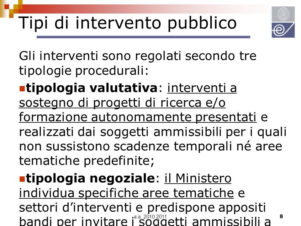 a.a. 2010 20118 Tipi di intervento pubblico Gli interventi sono regolati secondo tre tipologie procedurali: tipologia valutativa: interventi a sostegn