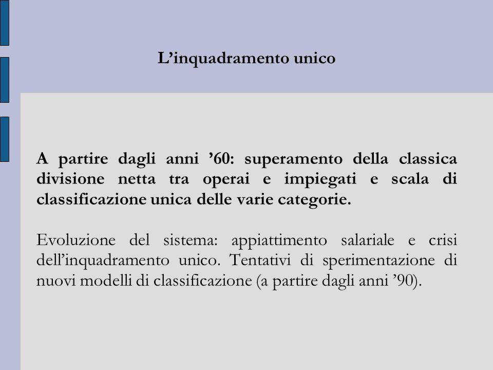 Linquadramento unico A partire dagli anni 60: superamento della classica divisione netta tra operai e impiegati e scala di classificazione unica delle