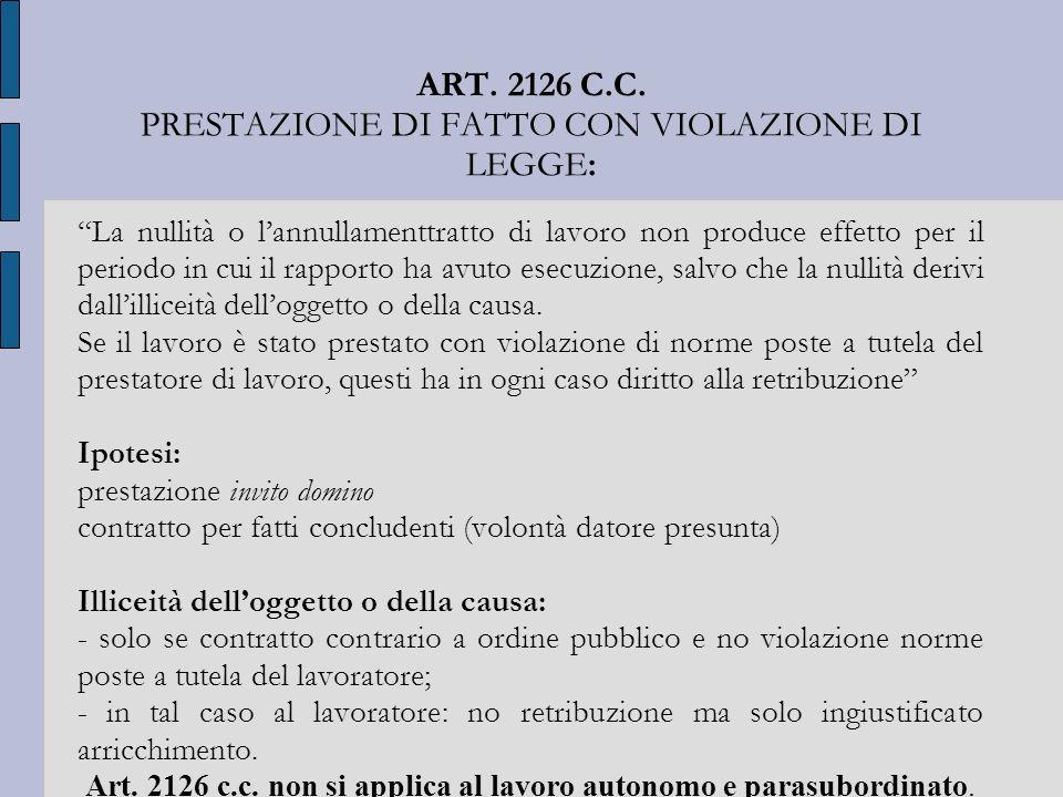 ART. 2126 C.C. PRESTAZIONE DI FATTO CON VIOLAZIONE DI LEGGE: La nullità o lannullamenttratto di lavoro non produce effetto per il periodo in cui il ra