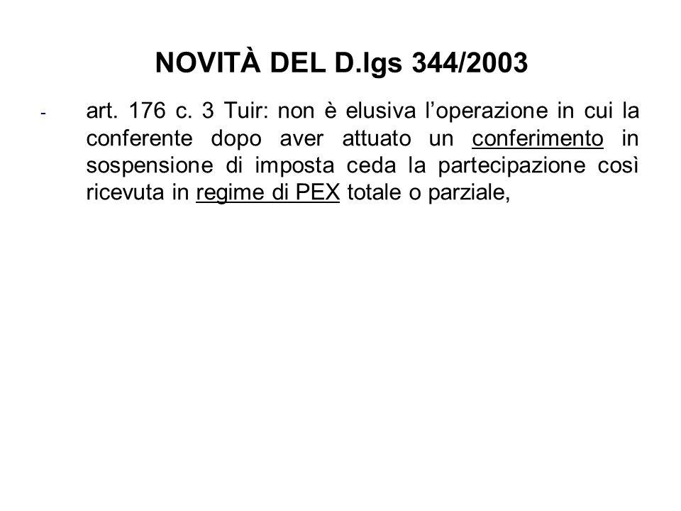 NOVITÀ DEL D.lgs 344/2003 - art. 176 c. 3 Tuir: non è elusiva loperazione in cui la conferente dopo aver attuato un conferimento in sospensione di imp