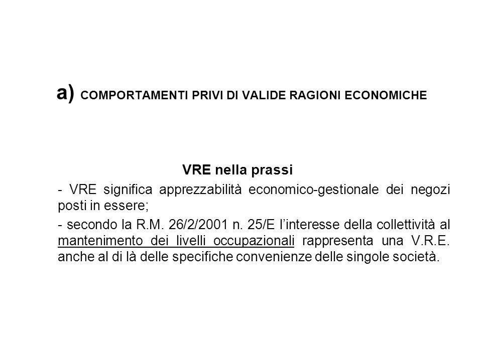 a) COMPORTAMENTI PRIVI DI VALIDE RAGIONI ECONOMICHE VRE nella prassi - VRE significa apprezzabilità economico-gestionale dei negozi posti in essere; -