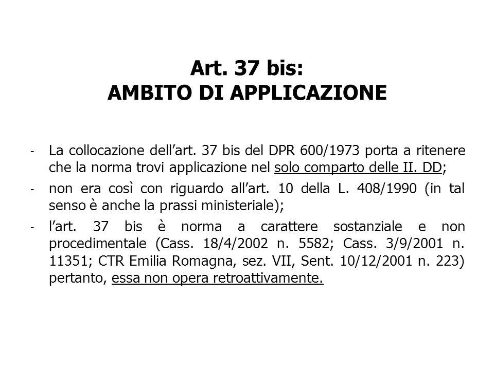 Art. 37 bis: AMBITO DI APPLICAZIONE - La collocazione dellart. 37 bis del DPR 600/1973 porta a ritenere che la norma trovi applicazione nel solo compa