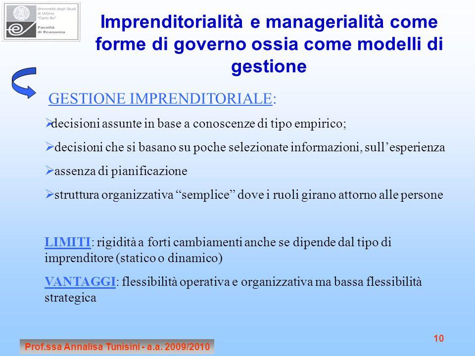 Prof.ssa Annalisa Tunisini - a.a. 2009/2010 10 Imprenditorialità e managerialità come forme di governo ossia come modelli di gestione GESTIONE IMPREND