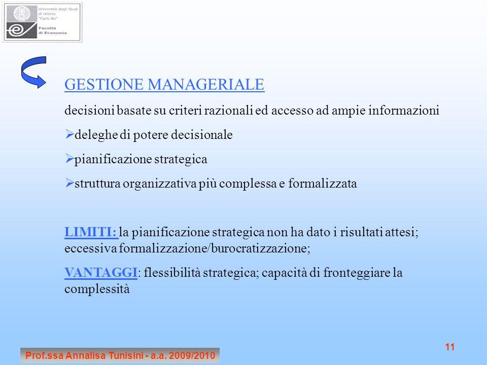 Prof.ssa Annalisa Tunisini - a.a. 2009/2010 11 GESTIONE MANAGERIALE decisioni basate su criteri razionali ed accesso ad ampie informazioni deleghe di