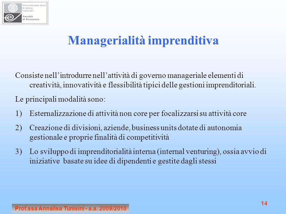Prof.ssa Annalisa Tunisini - a.a. 2009/2010 14 Managerialità imprenditiva Consiste nellintrodurre nellattività di governo manageriale elementi di crea