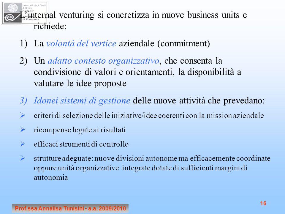 Prof.ssa Annalisa Tunisini - a.a. 2009/2010 16 Linternal venturing si concretizza in nuove business units e richiede: 1)La volontà del vertice azienda