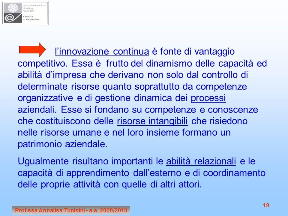 Prof.ssa Annalisa Tunisini - a.a. 2009/2010 19 linnovazione continua è fonte di vantaggio competitivo. Essa è frutto del dinamismo delle capacità ed a