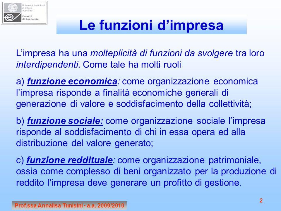 Prof.ssa Annalisa Tunisini - a.a. 2009/2010 2 Limpresa ha una molteplicità di funzioni da svolgere tra loro interdipendenti. Come tale ha molti ruoli