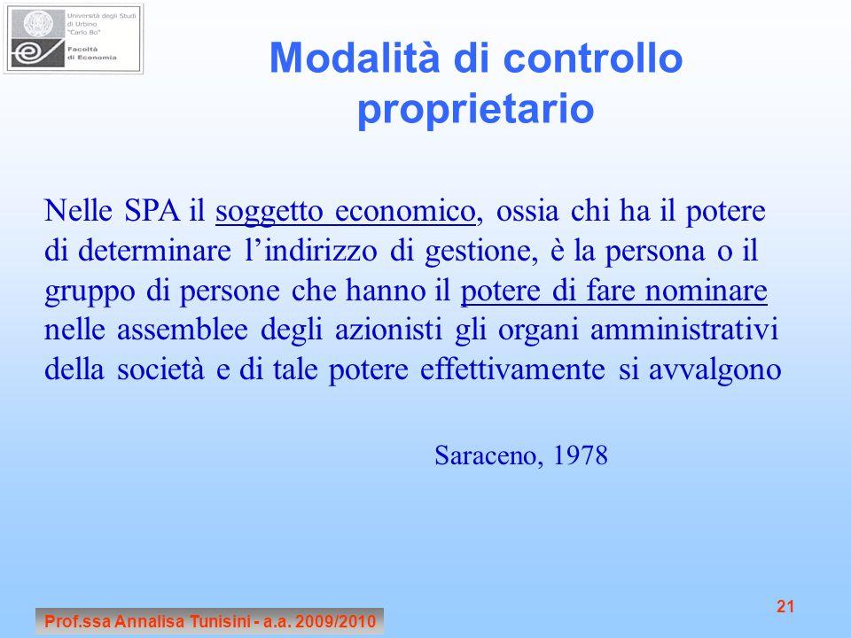 Prof.ssa Annalisa Tunisini - a.a. 2009/2010 21 Modalità di controllo proprietario Nelle SPA il soggetto economico, ossia chi ha il potere di determina