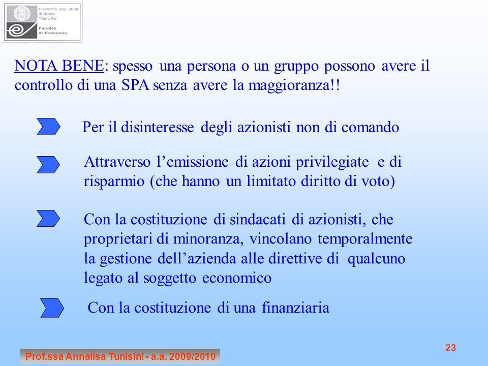 Prof.ssa Annalisa Tunisini - a.a. 2009/2010 23 NOTA BENE: spesso una persona o un gruppo possono avere il controllo di una SPA senza avere la maggiora
