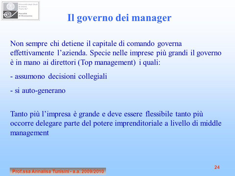 Prof.ssa Annalisa Tunisini - a.a. 2009/2010 24 Il governo dei manager Non sempre chi detiene il capitale di comando governa effettivamente lazienda. S