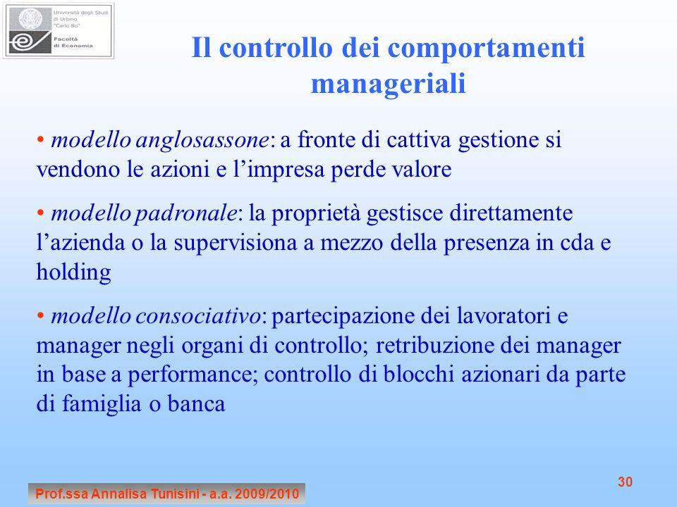 Prof.ssa Annalisa Tunisini - a.a. 2009/2010 30 Il controllo dei comportamenti manageriali modello anglosassone: a fronte di cattiva gestione si vendon