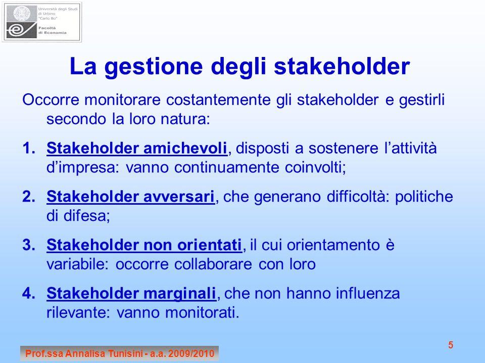 Prof.ssa Annalisa Tunisini - a.a. 2009/2010 5 La gestione degli stakeholder Occorre monitorare costantemente gli stakeholder e gestirli secondo la lor