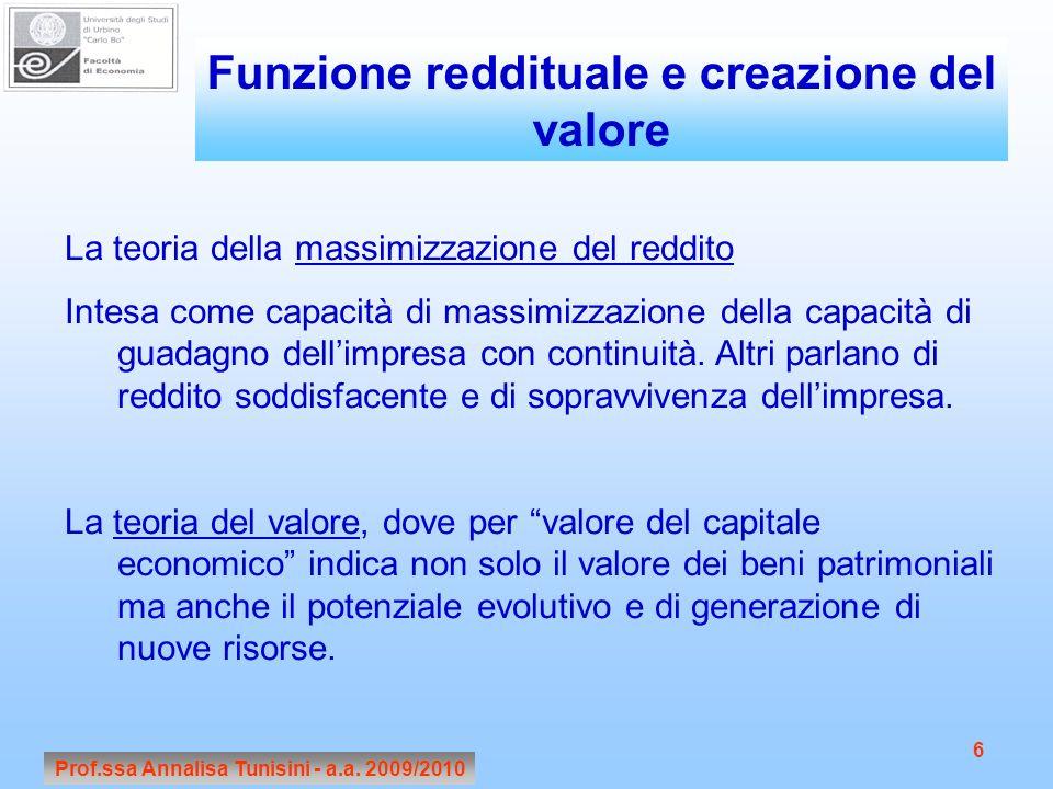 Prof.ssa Annalisa Tunisini - a.a. 2009/2010 6 La teoria della massimizzazione del reddito Intesa come capacità di massimizzazione della capacità di gu