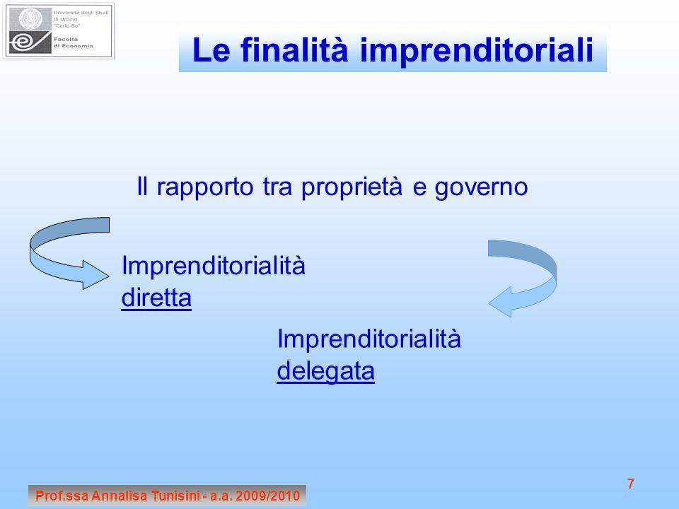Prof.ssa Annalisa Tunisini - a.a. 2009/2010 7 Le finalità imprenditoriali Il rapporto tra proprietà e governo Imprenditorialità diretta Imprenditorial
