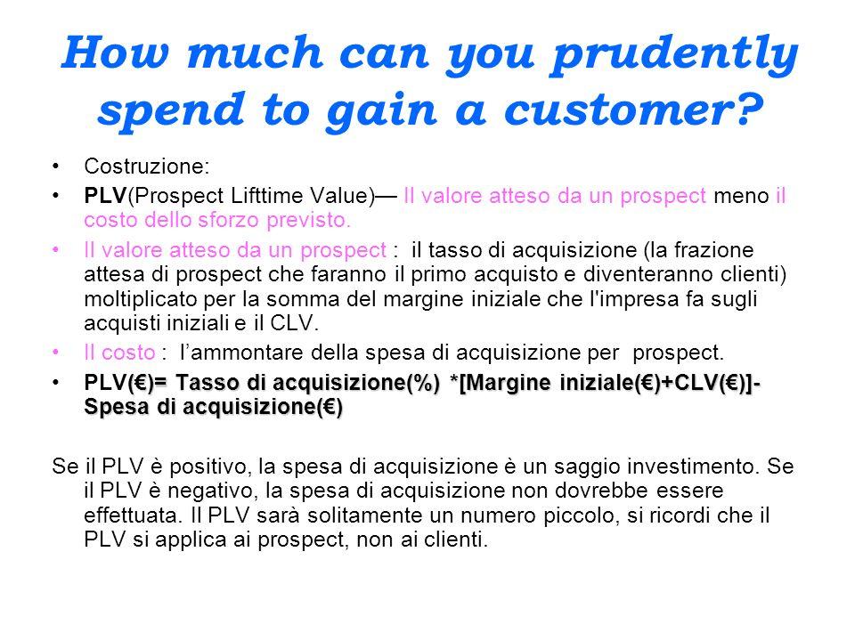 How much can you prudently spend to gain a customer? Costruzione: PLV(Prospect Lifttime Value) Il valore atteso da un prospect meno il costo dello sfo